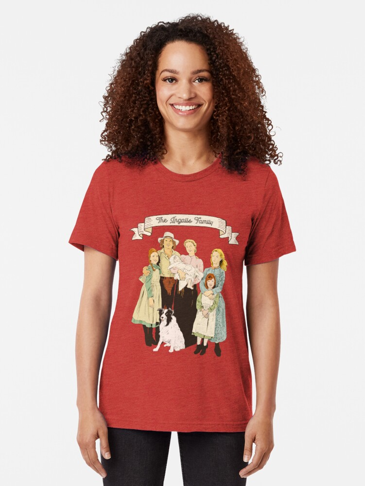 Alternate view of colored The Ingalls family in the Little house on the prairie Tri-blend T-Shirt
