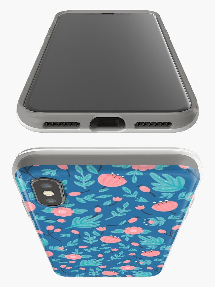 Alternate view of Blue florals iPhone Case & Cover