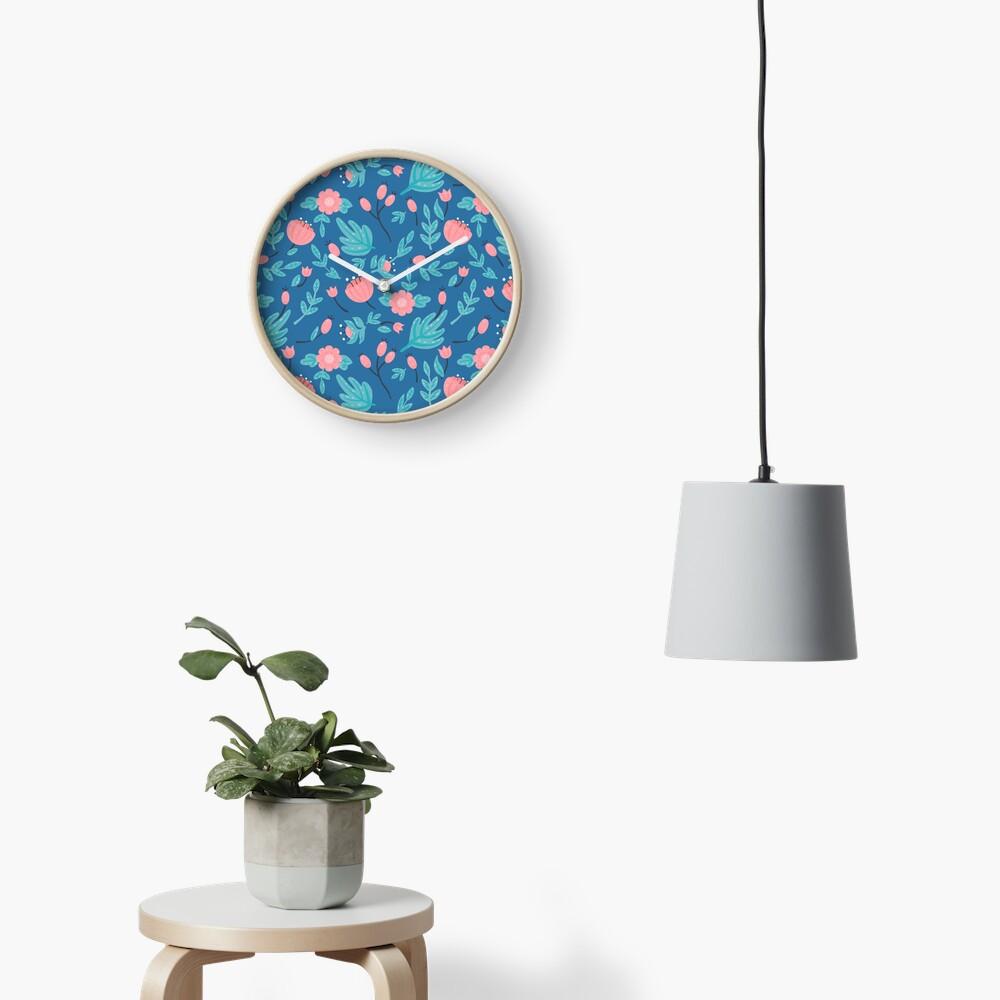 Blue florals Clock