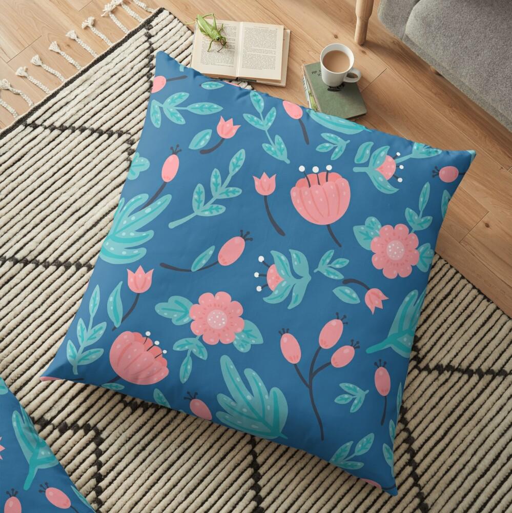 Blue florals Floor Pillow