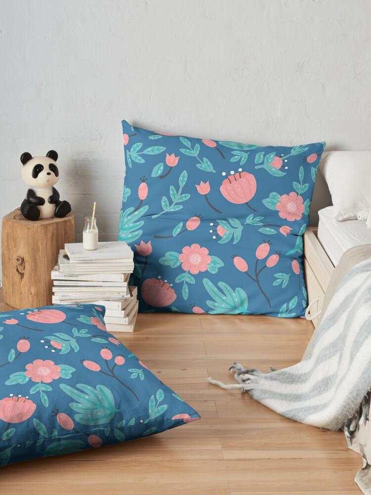 Alternate view of Blue florals Floor Pillow