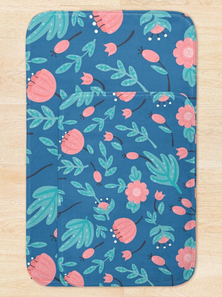 Alternate view of Blue florals Bath Mat