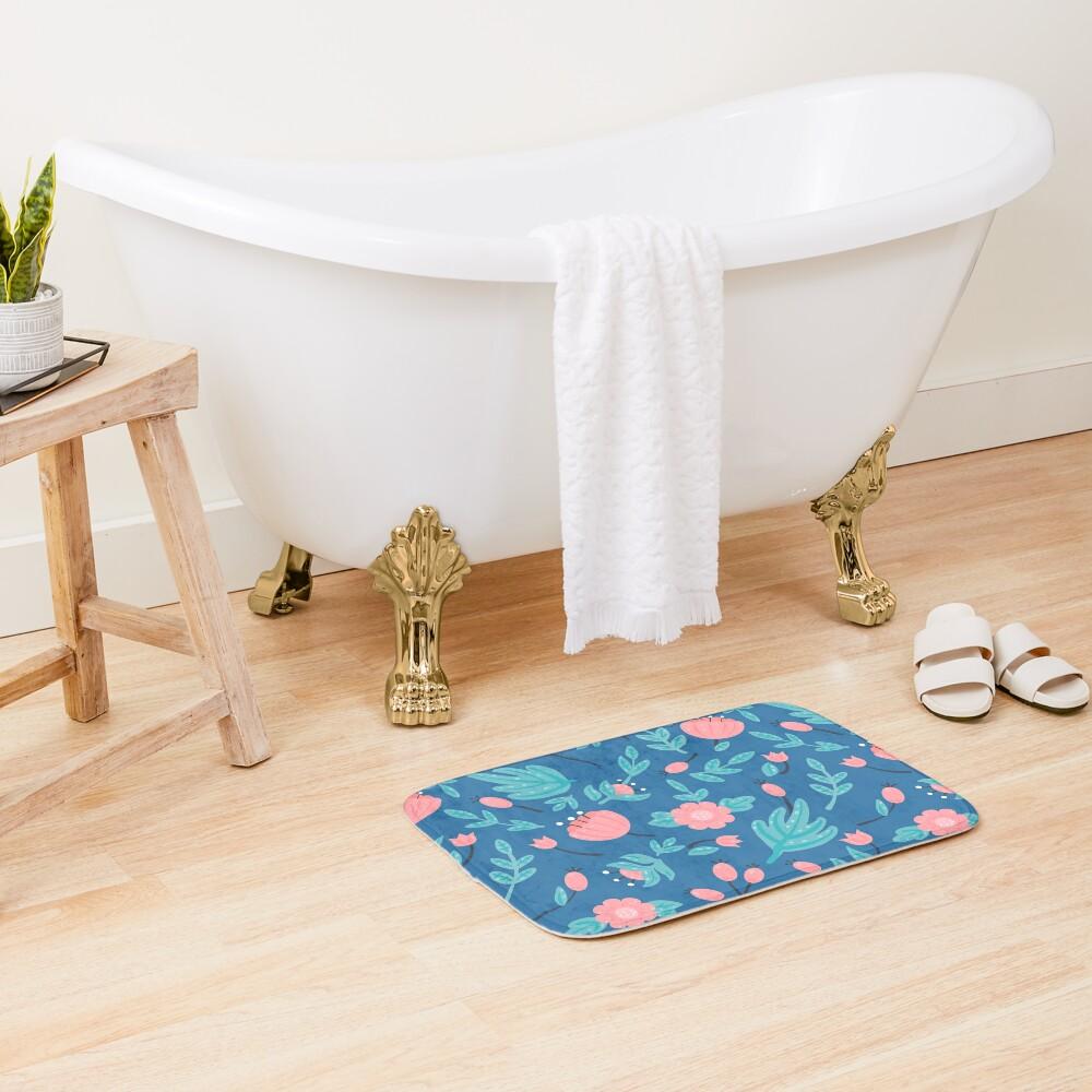 Blue florals Bath Mat