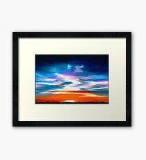 Landscape with mountains and a dramatic sky Framed Print