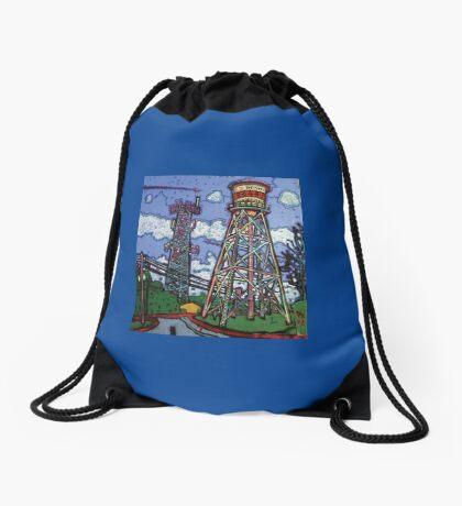 Penn Field Water Tower, Austin, Texas Drawstring Bag