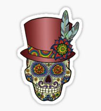 Sugar Skull Two - Mexican Top Hat - Dia de Los Muertos Sticker