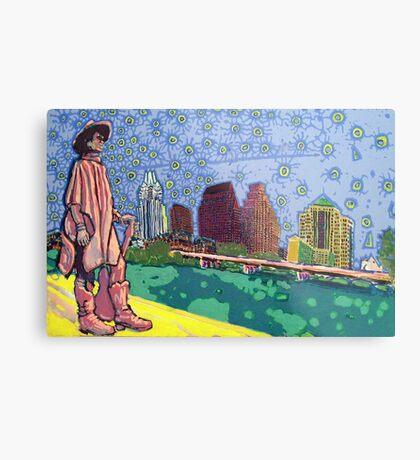 Stevie Ray Vaughan Statue, Austin, Texas Painting Metal Print