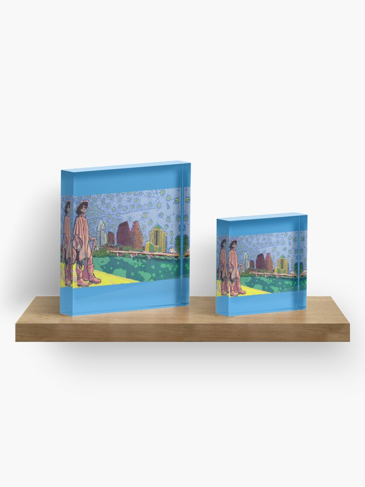 Alternate view of Stevie Ray Vaughan Statue, Austin, Texas Painting Acrylic Block