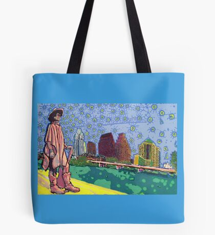 Stevie Ray Vaughan Statue, Austin, Texas Painting Tote Bag