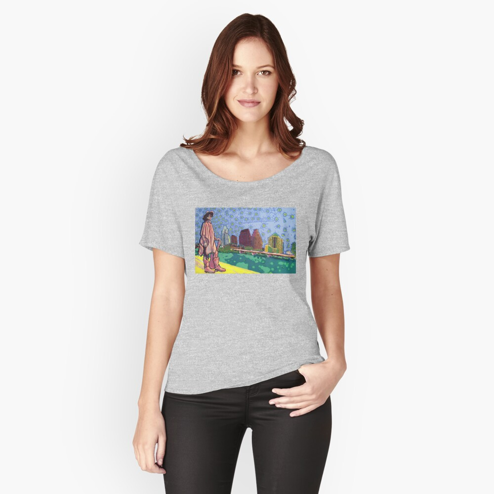 Stevie Ray Vaughan Statue, Austin, Texas Painting Relaxed Fit T-Shirt