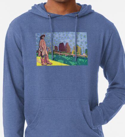 Stevie Ray Vaughan Statue, Austin, Texas Painting Lightweight Hoodie