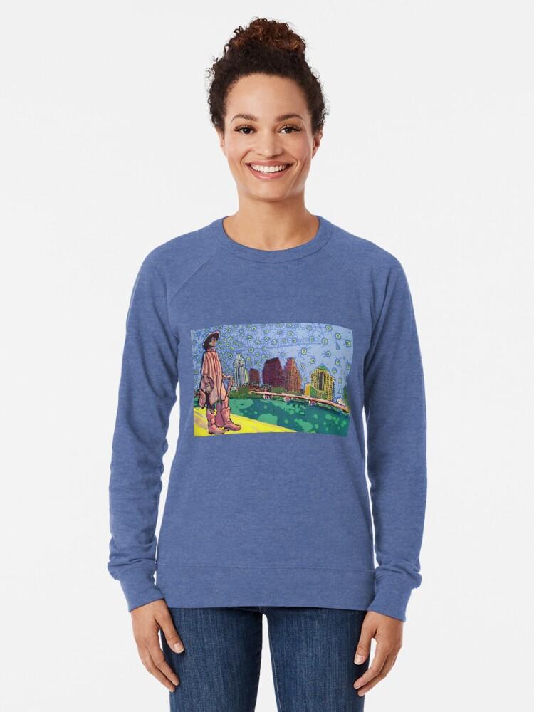 Alternate view of Stevie Ray Vaughan Statue, Austin, Texas Painting Lightweight Sweatshirt