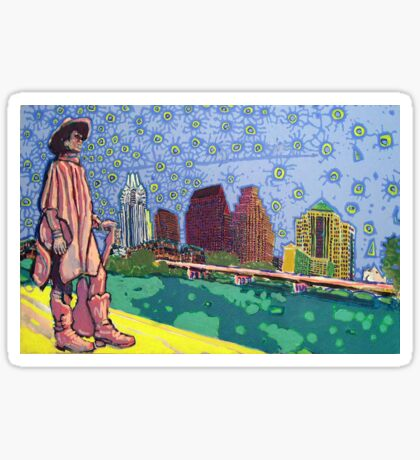 Stevie Ray Vaughan Statue, Austin, Texas Painting Sticker