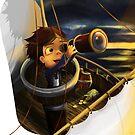 Boy Sailing the Ocean for Treasure by JenBargerIllys