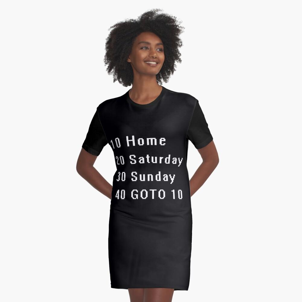 Computer, Basic, Weekend, GOTO Graphic T-Shirt Dress