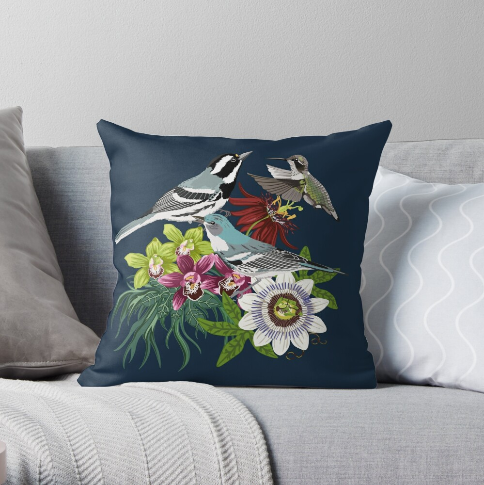 Orchids, Passionflower and Birds Throw Pillow