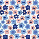 Spring flowers pink & blue by theseakiwi