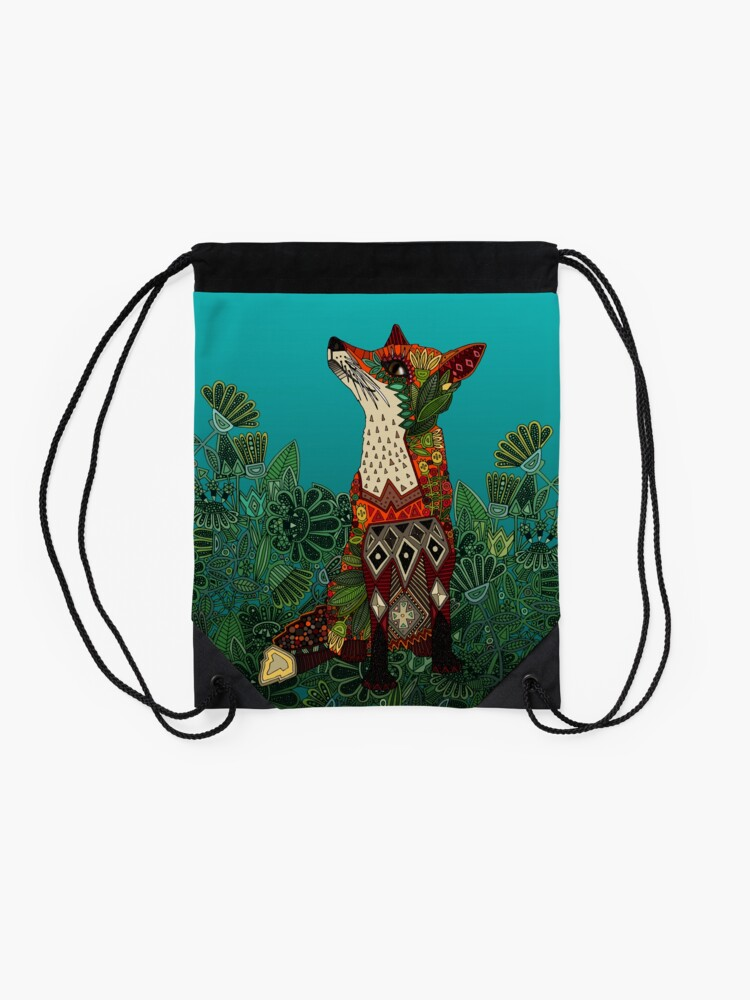 Alternate view of floral fox Drawstring Bag