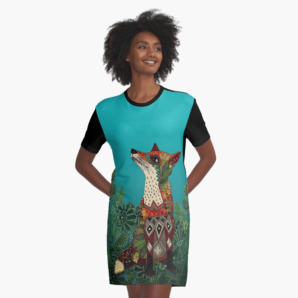 floral fox Graphic T-Shirt Dress