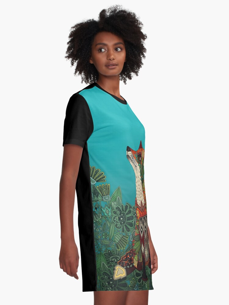 Alternate view of floral fox Graphic T-Shirt Dress
