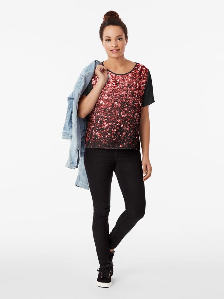 Vista alternativa de Blusa Glamour hermoso brillo rojo brilla