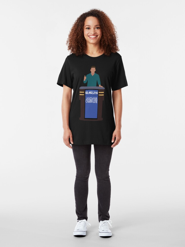 Alternate view of Heroes of Quiz Shows: James! Holzhauer at the Podium (new shirt) Slim Fit T-Shirt