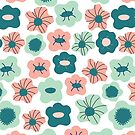 Flower green and pink pattern by theseakiwi