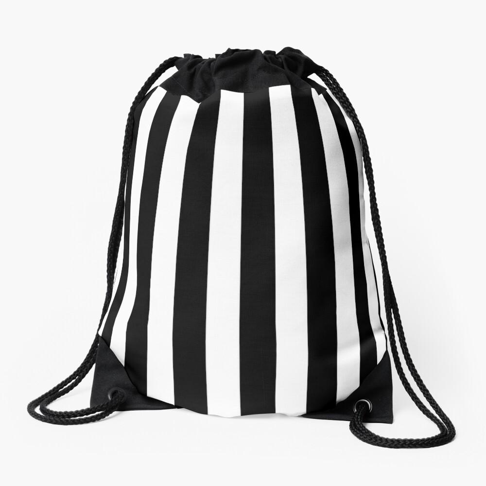 Classic Black and White Football / Soccer Referee Stripes Drawstring Bag