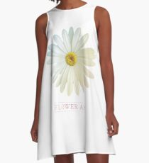 Flower Art Design with Phrase A-Line Dress