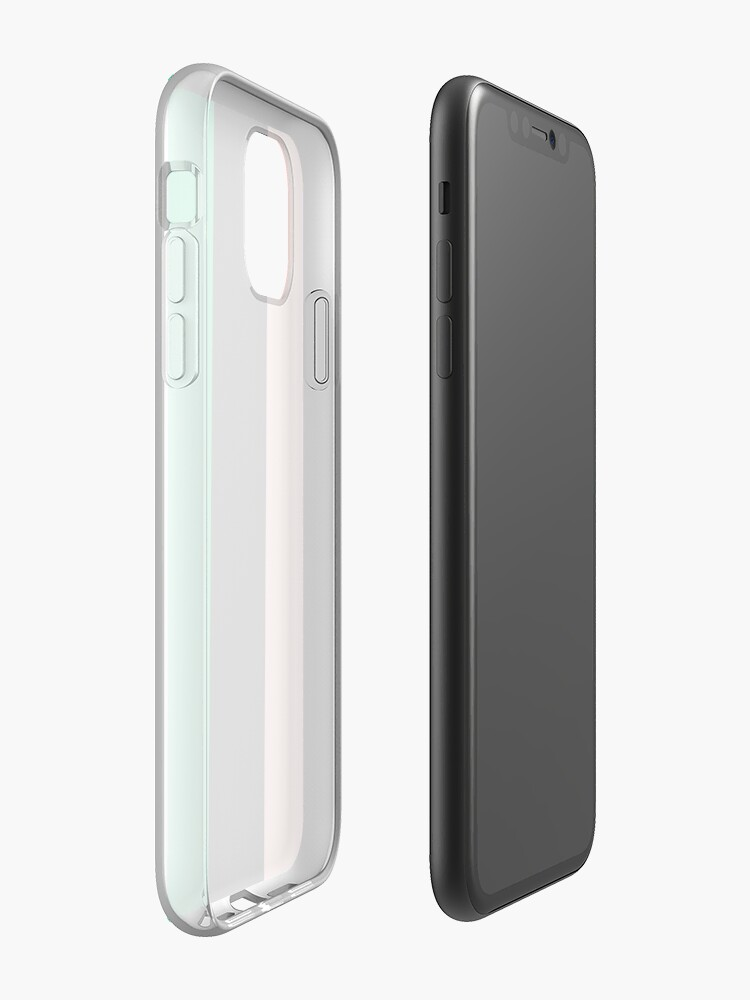 Coque iPhone «Motif rayé pêche, vert et noir», par AttalieAnn