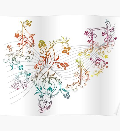 Blumenmusiknoten 3 Poster
