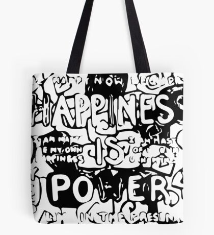 Happiness is Power v2 - Black and Transparent Tote Bag