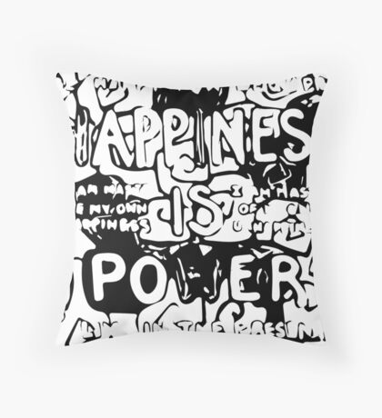 Happiness is Power v2 - Black and Transparent Throw Pillow