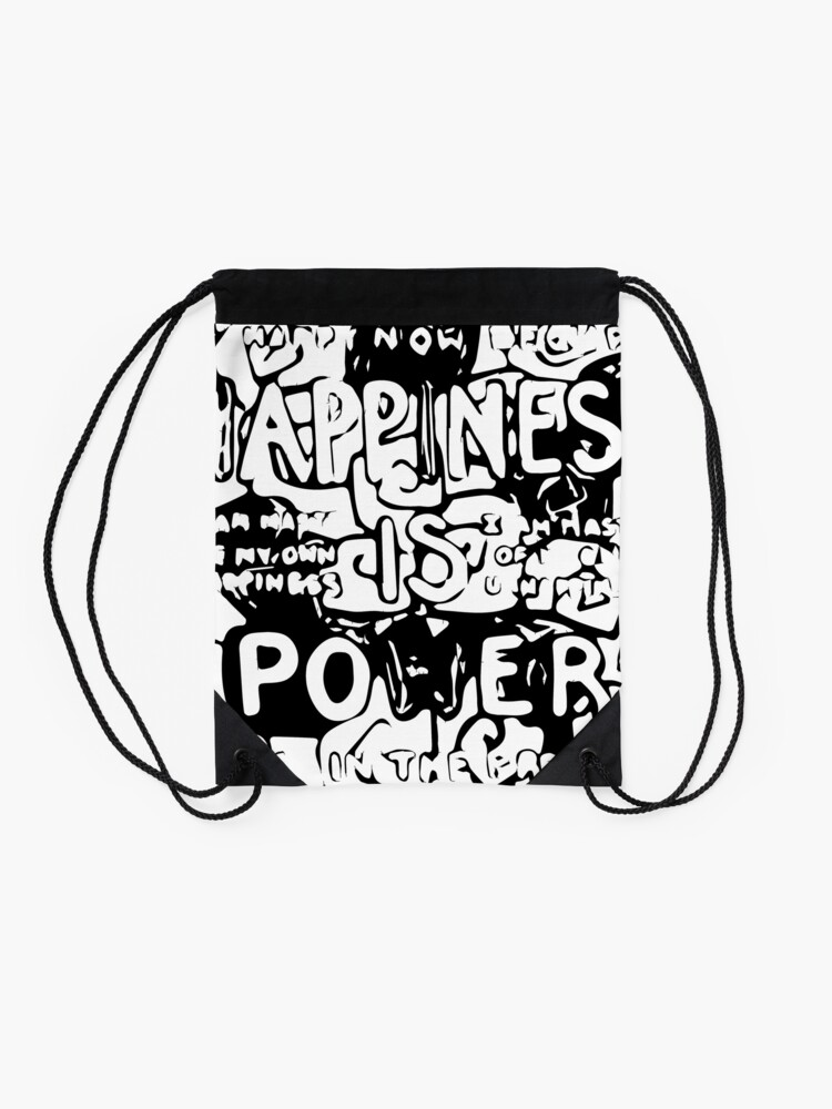 Alternate view of Happiness is Power v2 - Black and Transparent Drawstring Bag