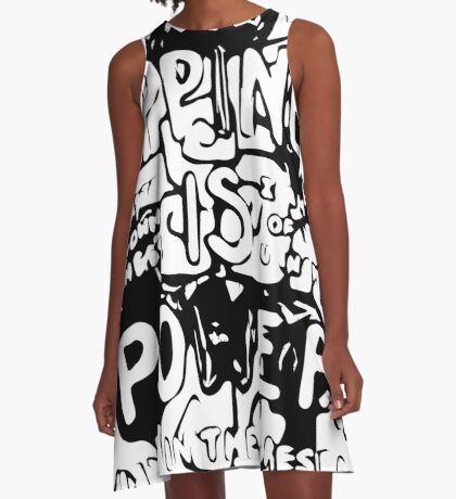 Happiness is Power v2 - Black and Transparent A-Line Dress