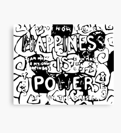 Happiness is Power v2 - Black and Transparent Canvas Print