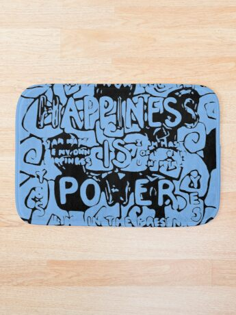 Happiness is Power v2 - Black and Transparent Bath Mat