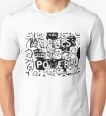 Happiness is Power v2 - Black and Transparent Slim Fit T-Shirt