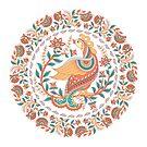 Kreisverzierung mit einem Vogel und Blumen. Indischer Stil. Kalamkari. von Skaska