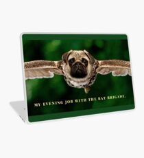 """Pug Shirt, with Wings, """"My Evening Job with the Bat Brigade"""" Laptop Skin"""