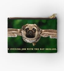 """Pug Shirt, with Wings, """"My Evening Job with the Bat Brigade"""" Zipper Pouch"""