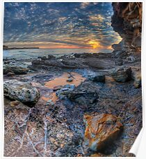 Textures - Warriewood Beach Headland, Sydney (35 Exposure HDR Panoramic) The HDR Experience  Poster