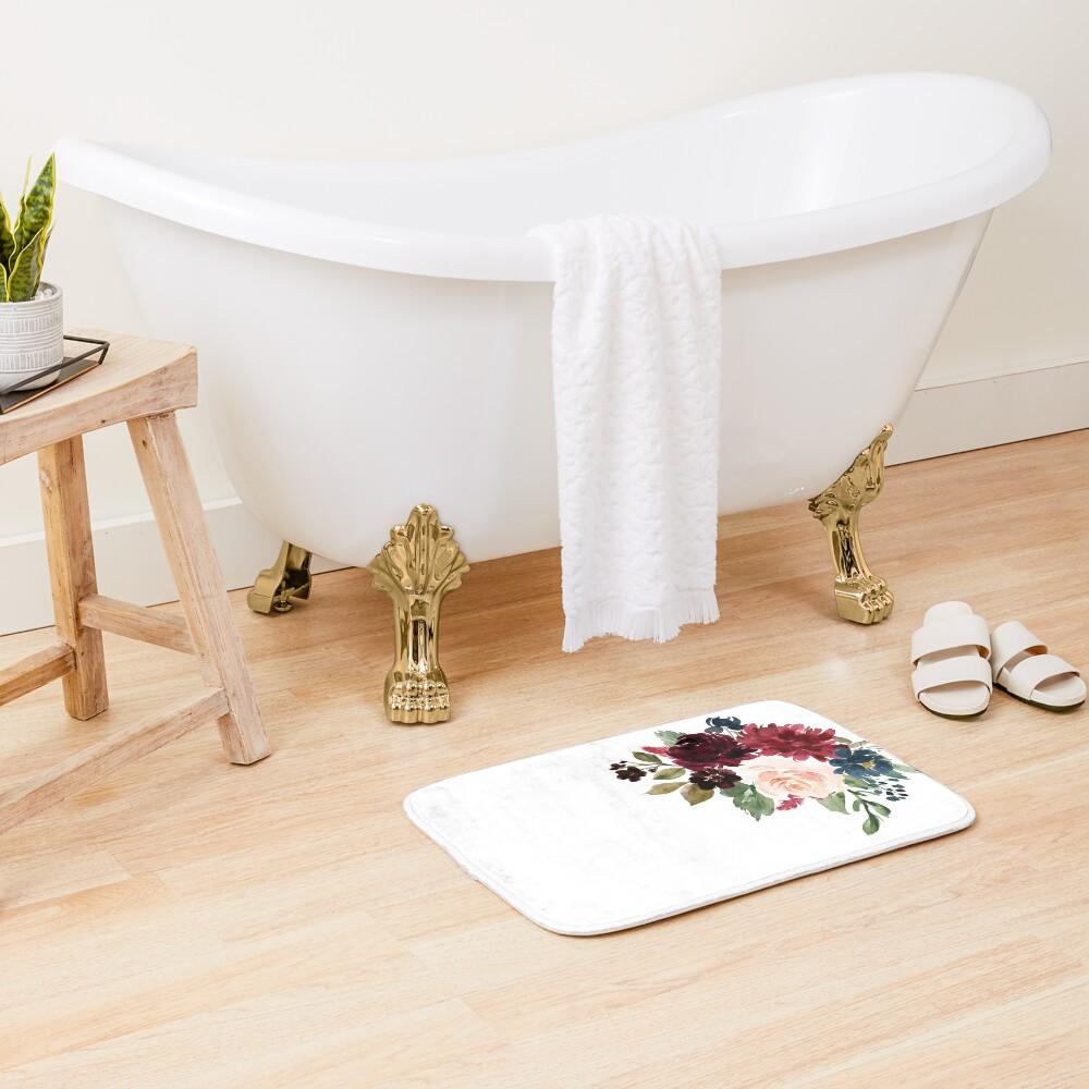 Burgundy Navy Floral Watercolor  Bath Mat