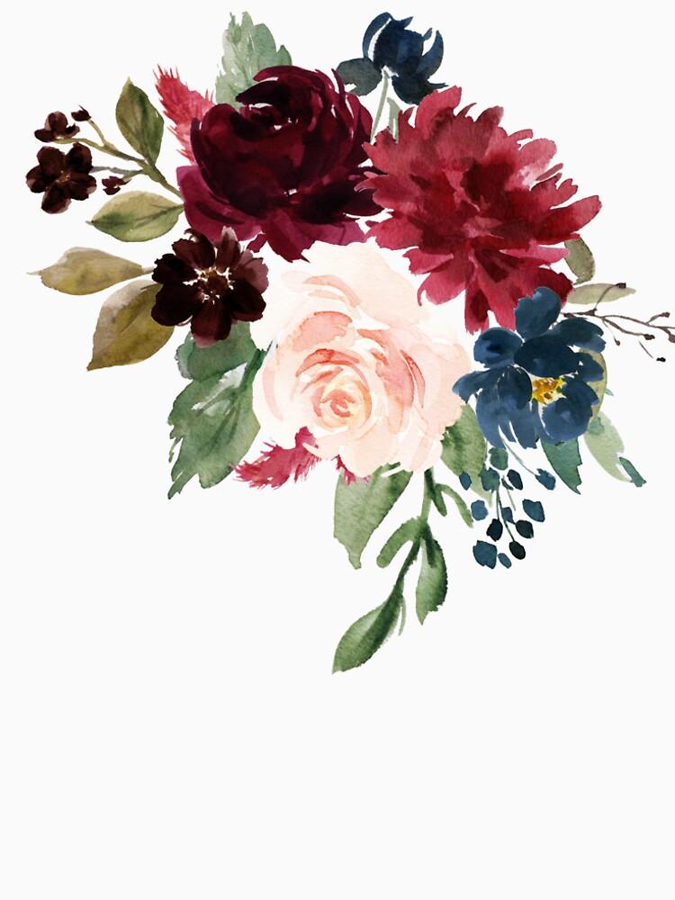 Burgundy Navy Floral Watercolor  by junkydotcom