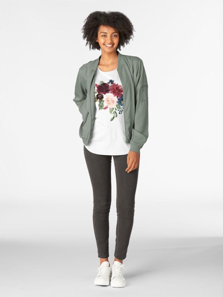 Alternate view of Burgundy Navy Floral Watercolor  Premium Scoop T-Shirt