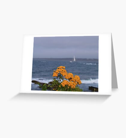 Yellow flowers and sailing yacht Greeting Card
