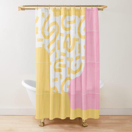 Sunny Doodle Tiles 03 #redbubble #midmod Shower Curtain