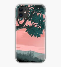 Pink sunset and tree | Landscape iPhone Case