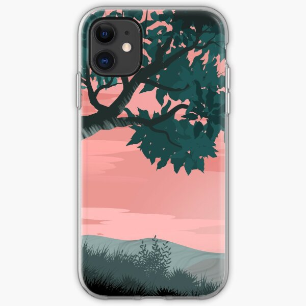 Pink sunset and tree | Landscape iPhone Soft Case