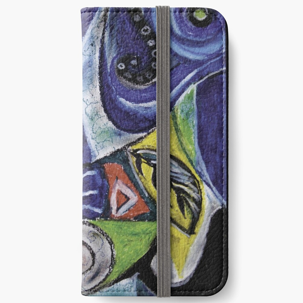 Abstract Leaf Shapes on Wavy Background iPhone Wallet